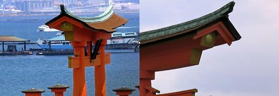 厳島神社 大鳥居の太陽と月