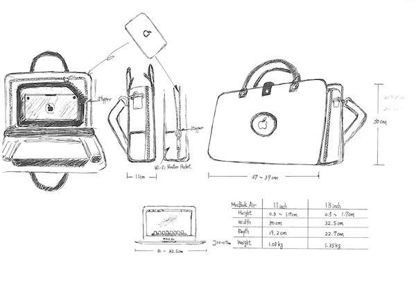 MacBook Air バッグ スケッチ2