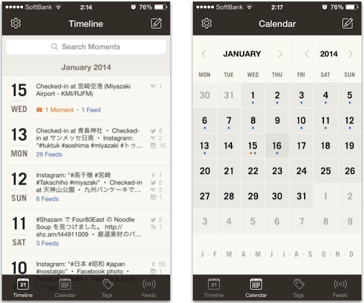 Momentoのタイムラインとカレンダー表示