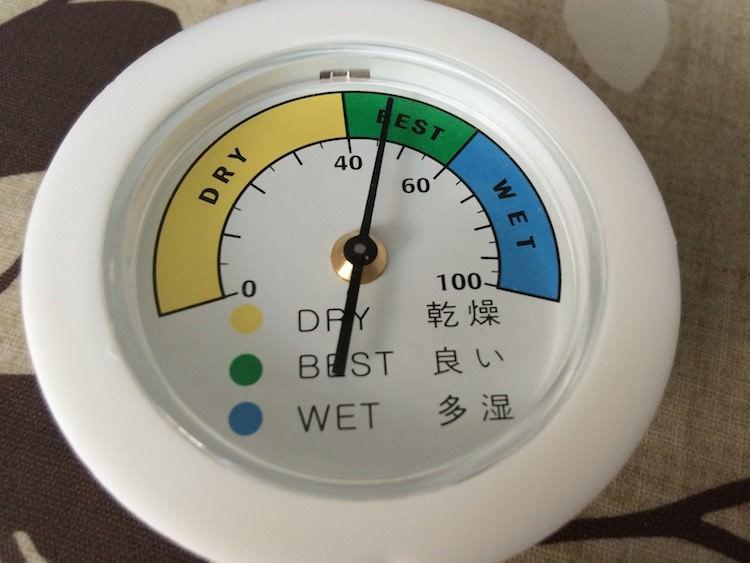 ドライボックスの湿度計